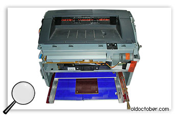Самодельный лоток в корпусе принтера. Вид сверху.