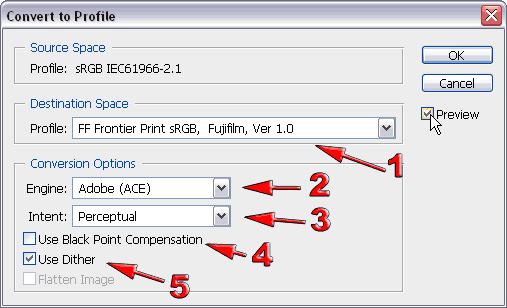 Инструмент Convert to Profile