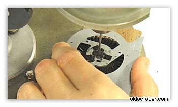 Сверление технологического отверстия в корпусе неразборного вентилятора.