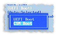 Фрагмент скриншота переключателя UEFI-CSM в BIOS-е.