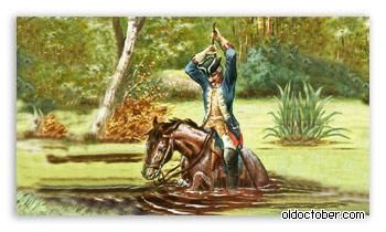 Мюнхгаузен вытаскивает себя из болота вместе с лошадью.