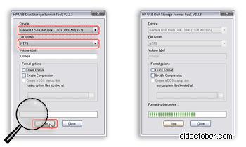 Форматирование флэшки в программе HP USB Disk Storage Format Tool.