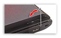 Рычажок включения, выведенный за пределы закрытого ноутбука.