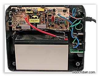Изображение внутренностей ИБП PowerMust 600 Offline.