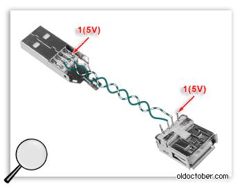 Подключение витой пары для передачи данных по кабелю USB.