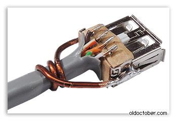 Крепление кабеля к гнезду USB с помощью толстого медного провода.