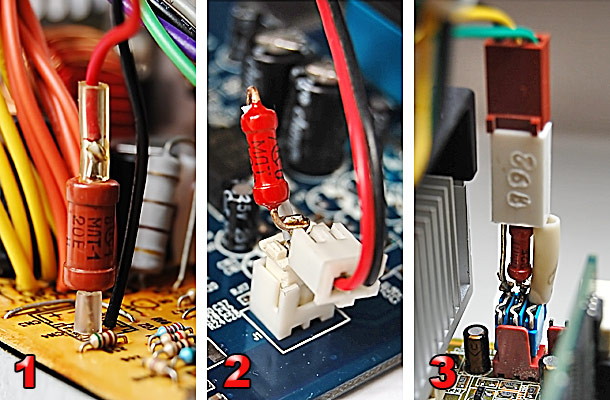 Пример установки балластного резистора.