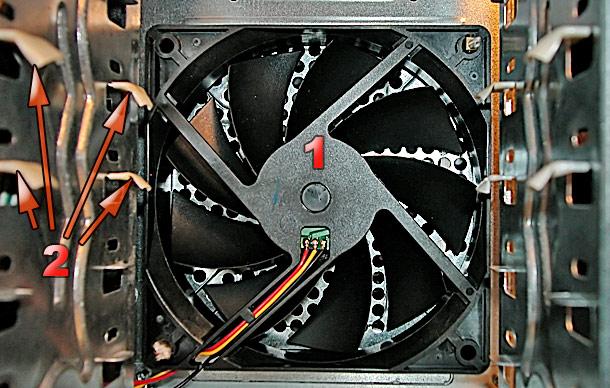 Крепление фронталного вентилятора.