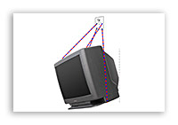 Телевизор, закреплённый на стене.