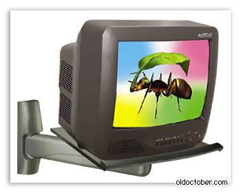 Промышленный кронштейн для крепления кинескопного телевизора к стене.