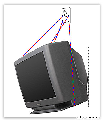 Эскиз крепления CRT телевизора к стене.