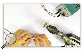 Отверждение клея с помощью нагрева катушки электрическим током.