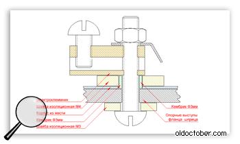 Чертёж крепления электротехнических клеммников к воздуховоду фена.