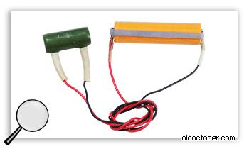 Разряд аккумуляторной банки с помощью резистора.