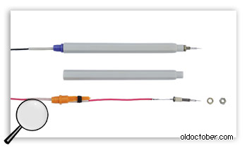 Крепление провода и наконечника щупа.