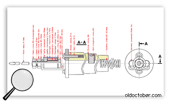 Подробный чертёж миниатюрного паяльника с подробным описанием деталей.