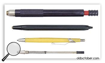 Цанговый карандаши с разным размером грифеля.
