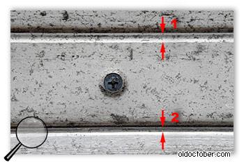 Доработанный и недоработанный опорные рельсы раздвижных дверей.