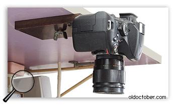 Крепление камеры над столом.