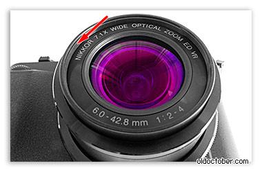 Передняя часть объектива Nikon Coolpix P7700.