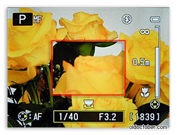 Экран камеры в режиме ручной фокусировки.