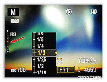 Индикатор экспонометра камеры P7000.