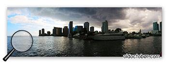 Панорама, снятая с рук в режиме «Простая панорама» камерой Nikon Coolpix P7700.