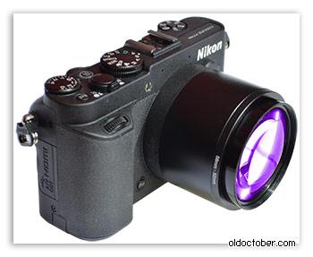 Насадочная линза, установленная на камере Coolpix P7700