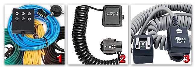 Различные кабели для синхронизации вспышек