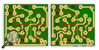 Два варианта сборки ИК-триггера на одной и той же плате.