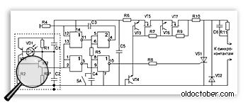 Схема универсального светосинхронизатора, работающего по второй вспышке.