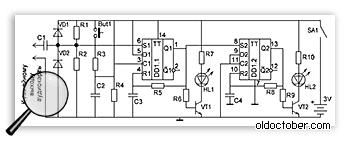 Схема имитатора вспышек для настройки фотоловушек