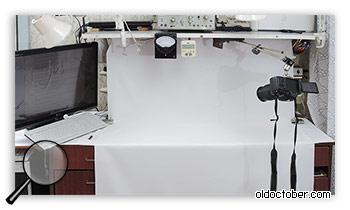 Рабочий стол, переоборудованный для видеосъёмки.