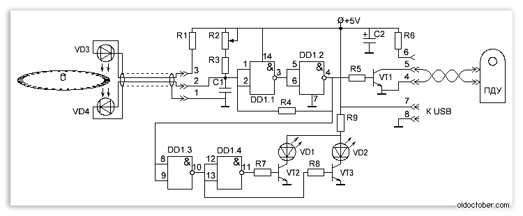 Схема устройства синхронизации
