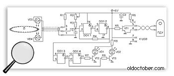 Схема устройства синхронизации затвора камеры с оптическим датчиком.