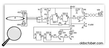 Электрическая схема устройства синхронизации показана в режиме записи маркеров.