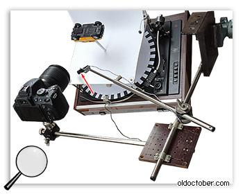 Вид установки для съёмки 3D объектов со штангой для светодиода.