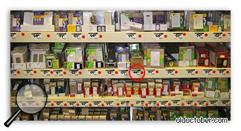 Витрина с диммерами в магазине Home Depot.