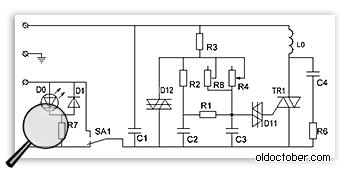 Схема фабричного диммера Leviton для напряжения сети 120 Вольт.