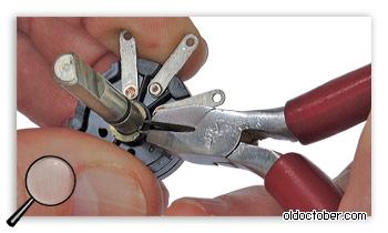 Удаления фиксирующего кольца.