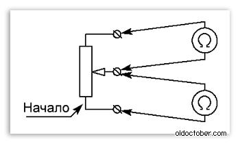 Определение характеристики потенциометра с помощью омметра.