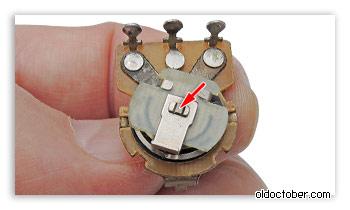 Развальцованный конец вала резистора СП3-4 со стороны скользящего контакта.
