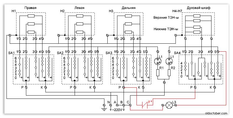 3 подключения схема нина электроплита