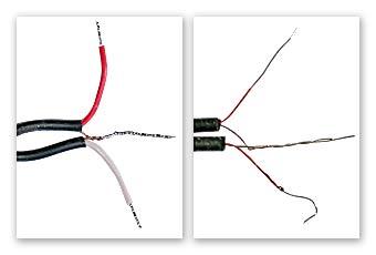 Скручиваем и лудим проводники.