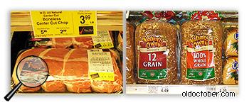Стоимость мяса и хлеба.