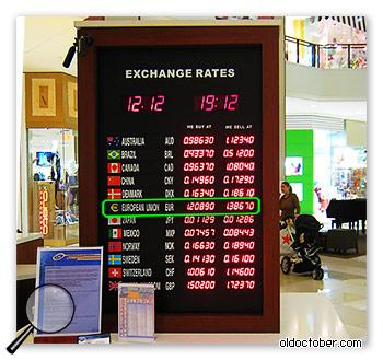 Обменный курс валют в обменном пункте.