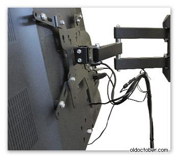 Крепление плоского LCD/LED телевизора к железобетонной стене.