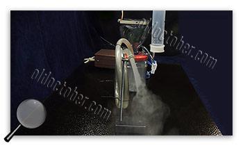Smoke generator in operation.